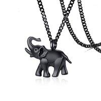 Pendentif Colliers en acier inoxydable Noir Éléphant Cremation Neckalce Animal Openable Ashes Urn Collier Bijoux Cadeau avec entonnoir et Pin1
