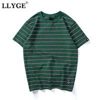 Llyge Harajuku Unisex Striped мужская футболка T-футболки Лучшие лето O-шеи с короткими рукавами футболки Tops 2020 мужчин Hip Hop Streetwear повседневные TeeS1