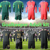 2021 National Team Soccer Jersey Set # 1 Buffon # 21 Donnarumma Portero Hombres Kit de adultos Jersey Jersey Home Alojamiento Camisetas de manga larga