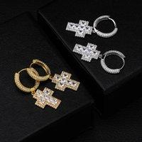 مكعب زركونيا الهيب هوب الصليب أقراط للرجال موضة جديدة مطلية بالذهب مجوهرات المرأة مفتاح الإستراحة مثلج خواتم الخواتم الماس