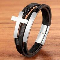 Charme corde en acier inoxydable or magnétique couleur argent couleur véritable cuir homme bracelet croix jésus bracelets bijoux chaîne pour cadeaux1