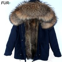 Jaqueta Parka Men Inverno com capuz Nature Raccoon Forro Brasão 201110 Jackets Man real Fur