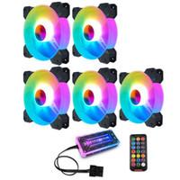 Coolmoon F-YH 컴퓨터 케이스 PC 냉각 팬 RGB 조정 120mm 조용한 + IR 원격 새 컴퓨터 쿨러 RGB CPU 케이스 팬