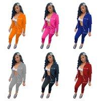 여성 럭키 Lable 편지 Tracksuit 자수 지퍼 코트 높은 칼라 자켓 및 레깅스 바지 복장 두 조각 의류 세트 G12201