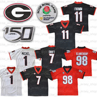 조지아 불독 11 Jake Fromm 7 Dandre Swift 1 Michel Black Red White Uga Rose Bowl 150th Jerseys