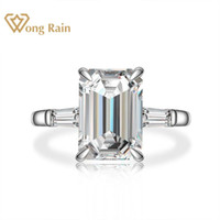 Wong Chuva 925 Sterling Silver esmeralda corte criados diamantes Moissanite Gemstone de noivado anel de casamento Belas jóias por atacado