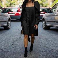 Повседневные платья Vonda Женщины с длинным рукавом Лето Шикарное платье Богемская вечеринка Vestidos Femme S-5XL Винтажный квадратный воротник халат женские туники
