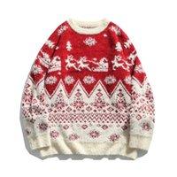 Рождественский свитер Мужчины Женщины вокруг шеи Трикотаж Мужские свитера Зимний свитер для парня Синий Красный