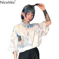 NICEMIX Summer Harajuku Blusa de manga corta Camisa para mujer Impresión digtal Mapa Tops y blusas Casual Blusas Camisas Mujer 2019 Y200623