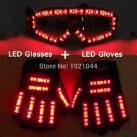 Guanti laser nuova di alta qualità LED + LED Light up Costumi Occhiali Bar Mostra ardore Prop Partito DJ Danza illuminato Suit