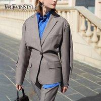 TWOTWINSTYLE Casual Women Blazer Notched Lantern Long Sleeve Tunic Loose Elegant Suit Female Fashion Clothing 2020 Spring Tide LJ201021