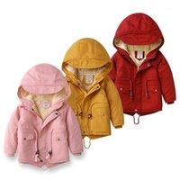 Куртки Iyeal Kid девочек мальчики куртка плюс мех теплый малыш детская зимняя девушка хлопок мягкая одежда ребенка утолщена