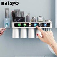 BAISPO Manyetik Adsorpsiyon Diş Fırçası Tutucu Ters Kupası Duvar Montaj Banyo Temizleyici Depolama Raf Banyo Aksesuarları Seti