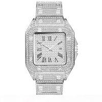 Heißer Verkauf Hohe Qualität Männer Mode Uhr Shinning Diamant Uhr Full Euro Out Uhren Edelstahl Quarz Bewegung Party Sport Armbanduhr