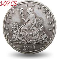10pcs 미국 동전 1873 복사 동전 세트 앉아 자유 무역 골동품 아트 소장