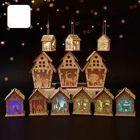 Natale capanna di legno si blocca Craft Kit di legno del giocattolo di puzzle di Natale Casa di legno con candela barra luminosa decorazioni domestiche regalo di Natale 60pcs T1I2675