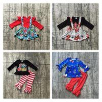 Oferta especial Girlymax Christmas Fall / Winter Baby Girls Ropa Niños Algodón Boutique Trajes Ruffles Pantalones Set Falda 201031