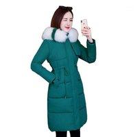 겨울 자켓 여성 슬림 코트 사무실 인과 패딩 패딩 온스 컬러 모피 칼라 우아한 숙 녀 긴 코트 코튼 파카 1571