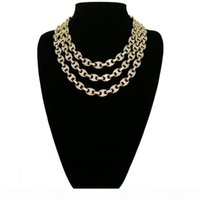 Hip-Hop 12mm Gold Silber Farbe überzogene Euro-Puff Marine-Anchpr-Kettenlink Bling Halskette für Männer