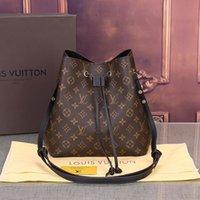 2021 Bag Printing Fashion Top New Genuine Leather Handbags Quality Bucket Flower Drawstring Women NEONOE Crossbody Famous Purse Gketa