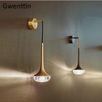 Luxus Kristallgold Wandleuchte Moderne Wand Merkte Light Fixtures LED Spiegel Lichter Badezimmer Bett Schlafzimmer Home Loft Dekor Leuchte