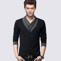 Glxd Mens Tshirts 2020 Autunno con scollo a V Manica lunga Match Colore maschio Pullover T-shirt Slim Fit Casual Casual Shirts Dropshipping1