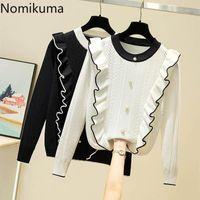 Suéter das mulheres Nomikuma contraste coreano cor plissado O-pescoço de malha pullover 2021 outono manga longa knitwear mulheres doces top jumper 6c389