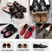 Erkekler Kürk Terlik Princetown Moda Katır Flats Zincir Bayanlar Rahat Ayakkabılar Kadın Erkek Loafer'lar Terlik Kutusu Boyutu Ile Hakiki Deri 36-46