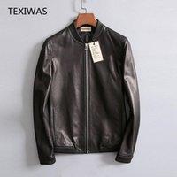 Couro dos homens faux texiwas jaqueta genuína homens 100% real casaco de pele de carneiro inteligente casual zipperr moto homem outerwear outono top qualidade1