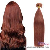 Italian Keratin Fusion Pre Legended Hair # 33 Dark Auburn Straight Brasilian Remy Nail U PIL SUGGERIMENTO TIPO DI ASTRESSIONI DI CAPELLI UMANI 50G Set 100 fili senza capannoni