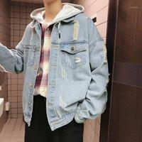 Erkek Ceketleri Toptan 2021 Moda Yıkama Yama Kot Ceket Erkekler Artı Boyutu 3XL Gevşek Japon Sonbahar Yakışıklı Streetwear Coat1