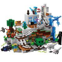 Bloque de construcción de la versión pequeña de la cueva de la montaña con las figuras de acción compatibles Minecraflys 21137 My World Bricks Set regalos Juguetes C1114