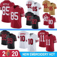 85 George Kittle 10 Jimmy Garoppolo Homens Football Jerseys Brandon Aiyuk Javon Kinlaw 80 Jerry Rice 7 Colin Kaepernick McGlinchey 2020 Novo
