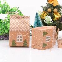 Halatlar Noel Ağacı Kurabiye Çanta Parti Dekoru ile Kutuları Ev Şekli Noel Şeker Hediyelik Çantalar Packaging 50 adet Merry Christmas Misafirler