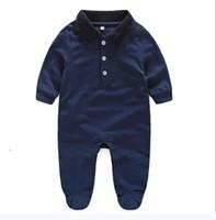 Sıcak Satmak Yenidoğan Bebek Giysileri Uzun Kollu Tasarımcı 100% Pamuk Bebek Tulum Bebek Giyim Bebek Erkek Kız Tulumlar + Şapka