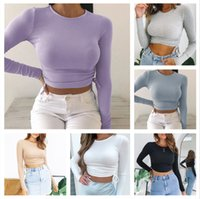 Fall Women Clothing New Casual Solid O- Neck Long Sleeve Crop...