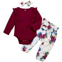أطفال مصمم الوليد الرضع ملابس الطفل مجموعة الفتيات جولة الرقبة طويلة الأكمام والطباعة السراويل الخريف الدعاوى طفلة ملابس