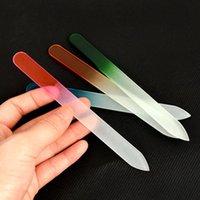 6 cores 1 pc gel prego Arte Nail Art Ferramenta de Gosto de Vidro Durável Ferramenta de Manicure Definido Prego Cuticle Care Buffer Tira de Polimento