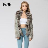CR072 Örme Gerçek Tavşan Kürk Palto Palto Ceket Fox Kürk Yaka Rus kadın Kış Kalın Sıcak Hakiki Kürk 201031