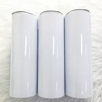 Sublimation Blank Blank 20oz 30oz Skinny Tumblers con coperchio e cannucce in acciaio inox tazza diritti in acciaio inox rivestimento sublimato portatile per trasferimento di calore