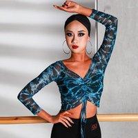 الرقص اللاتينية أعلى الأزياء المطبوعة شبكة طويلة الأكمام قمصان رومبا تشا تشا سامبا سامبا الصلصا الرقص الملابس الكبار ممارسة ارتداء DN48131
