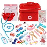 척 플레이 하우스 의사 장난감 나무 의료 도구 상자 치과 의사 세트 시뮬레이션 플레이 하우스 장난감 역할 재생 어린이를위한 생활 기술 lj201214