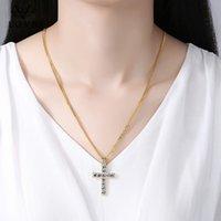 LOVR ожерелья для женщин Мода крест кулон кристалл ювелирные изделия девушки циркон золота цвета серебра Длинные ожерелья шарма ювелирных изделий подарка