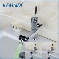 Kemaidi New Kitchen Faucet Датчик температуры Светодиодный Свет Света Свирью Хромированная Раковина Бассейна Латунная Торнэйра Cozinha Tap Mixer Mixer Faucet T200424