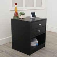 40 x 36 x 47cm Round Handle Night Stand with Two Drawer Blac...