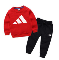 Новая детская осенняя одежда набор одежды детей мальчик девушка с длинным рукавом топ + брюки 2 шт. Костюмы моды спортивные наряды 1-8T