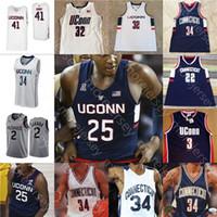 Custom Connecticut Uconn Serckies كرة السلة Jersey NCAA College Brendan Adams Akok Sidney Wilson Drummond Gay Lamb Butler Gordon Hamilton