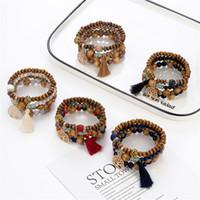 5 Styles Nouvelle Bohemian Beach MultiLayer Bois Perles Tassel Arbre de vie Bracelets Bracelets Bracelets pour femmes Cadeau Bracelet Mala Bracelet 98 L2