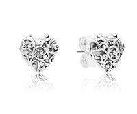 여성 정통 925 실버 러브 스터드 귀걸이 Pandora CZ CD 다이아몬드 웨딩 쥬얼리 귀걸이 원래 상자
