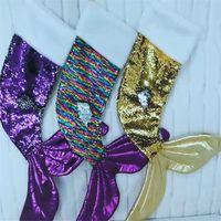 2020 2021 Natale Xmas Ornament reversibile paillettes Mermaid Stocking Scales Coda paillettes calzini Albero Hanging regalo pacco borsa borsa F102402